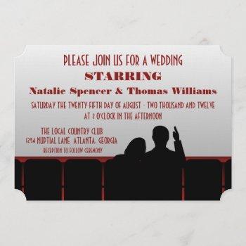 movie theater wedding invite, red invitation