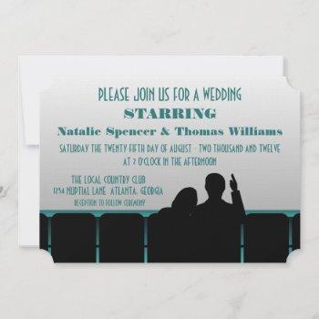 movie theater wedding invite, teal invitation