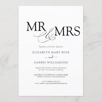 mr & mrs live stream modern black white wedding invitation