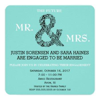 mr & mrs to be engagement bridal shower party invitation