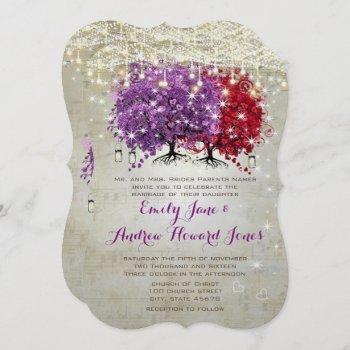 musical purple red heart leaf tree wedding  invitation