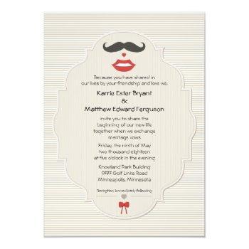 mustache lips retro wedding invitation