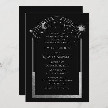 mystical black silver sun moon astronomy wedding invitation