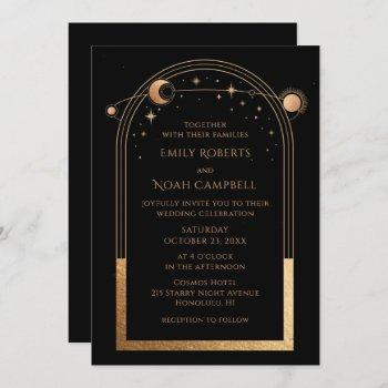 mystical chic black gold star moon astronomy space invitation