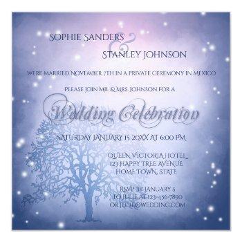 mystical snow winter after wedding invitation