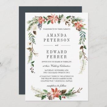 mystical winter | floral wedding invitation