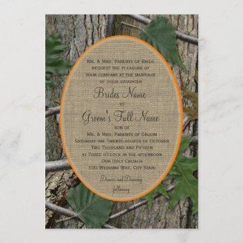 natural trees and leaves wedding invitation