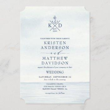 nautical anchor monogram watercolor ocean wedding invitation