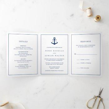 nautical anchor navy blue monogram wedding tri-fold invitation