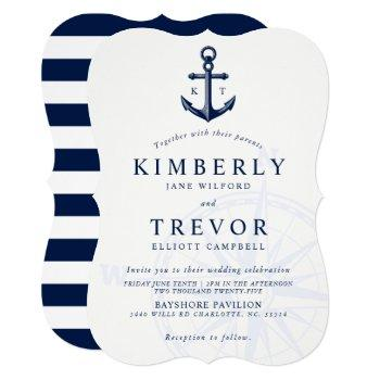 nautical anchored love wedding invite