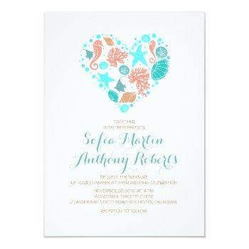 nautical beach heart - ocean treasures wedding invitation