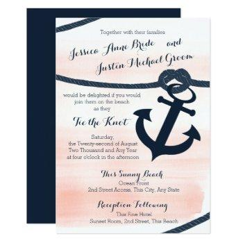 nautical blush and navy rope and anchor wedding invitation