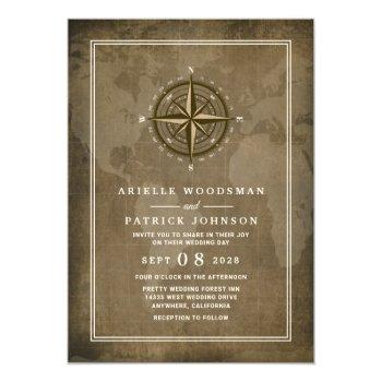 nautical compass vintage globe wedding invitations