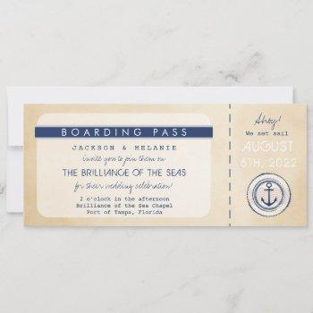 nautical cruise ship boarding pass wedding invite