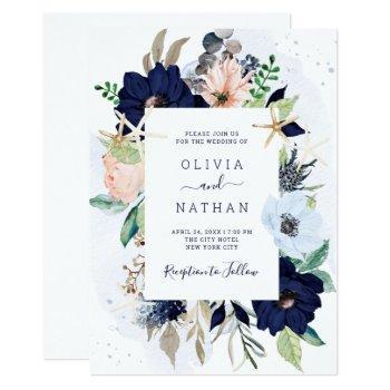 nautical flowers navy blue and blush pink wedding invitation