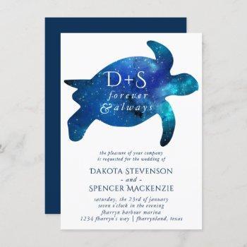 nautical galaxy sea turtle   monogram wedding invitation