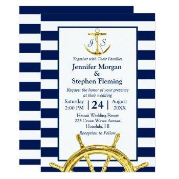 nautical gold and navy blue stripes wedding invitation