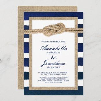 nautical knot burlap & watercolor navy stripes invitation