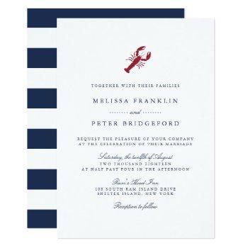nautical lobster wedding invitation