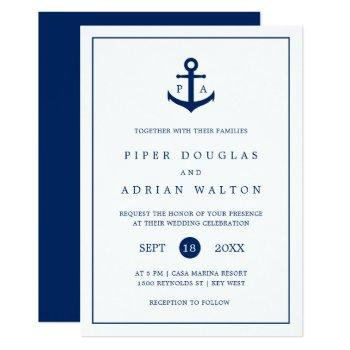 nautical navy blue anchor monogram wedding invitation