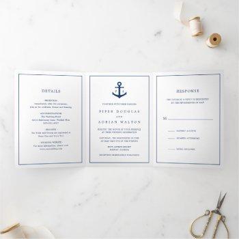 nautical navy blue anchor monogram wedding tri-fold invitation
