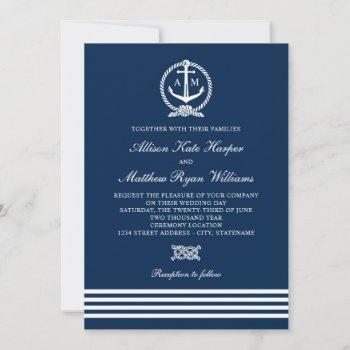 nautical navy blue white anchor stripes wedding invitation