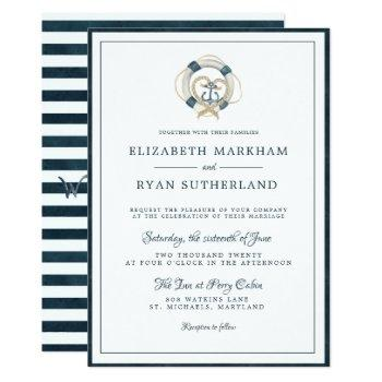 nautical navy & white wedding | anchored in love invitation