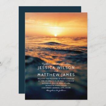 nautical ocean sunset beach themed wedding invitation