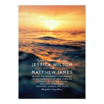 Small Nautical Ocean Sunset Beach Themed Wedding Invitation Front View