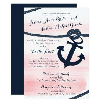 nautical pink and navy rope and anchor wedding invitation