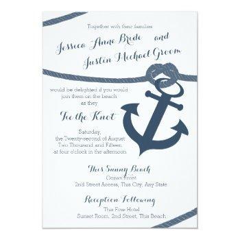 nautical rope and anchor wedding invitation