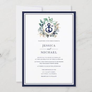 nautical rustic watercolor navy anchor wedding invitation