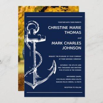 nautical sketch anchor photo navy wedding invitation