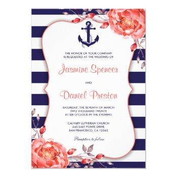 nautical stripe navy blue and coral wedding invite