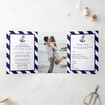 nautical stripes & navy blue anchor wedding suite tri-fold invitation
