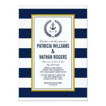 nautical style bold stripes wedding invitation