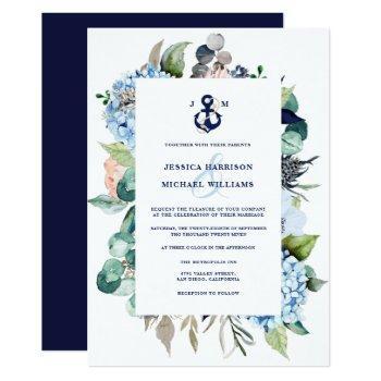 nautical watercolor floral hydrangea wedding invitation