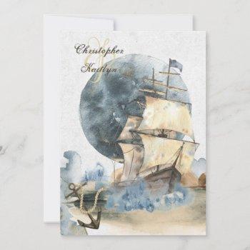 nautical watercolor ship and full moon wedding invitation