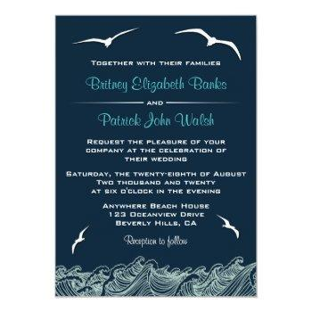 Small Nautical Waves & Seagulls Navy Wedding Invitations Front View