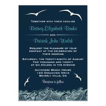 nautical waves & seagulls navy wedding invitations