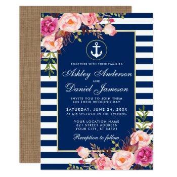 nautical wedding blue stripes floral pink invite b