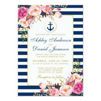 nautical wedding blue stripes pink floral invite