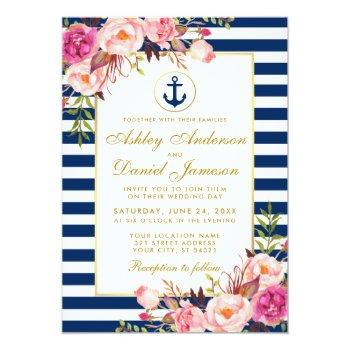 nautical wedding blue stripes pink floral invite g