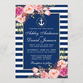 nautical wedding blue stripes pink floral invite w