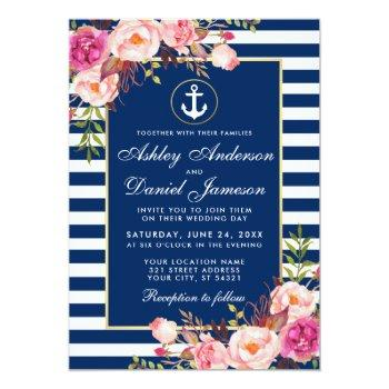 nautical wedding blue stripes pink floral invite w