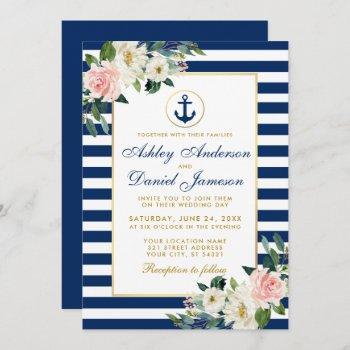 nautical wedding blue stripes white pink floral invitation