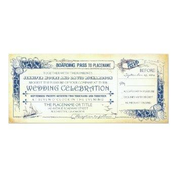 nautical wedding invitation boarding pass tickets