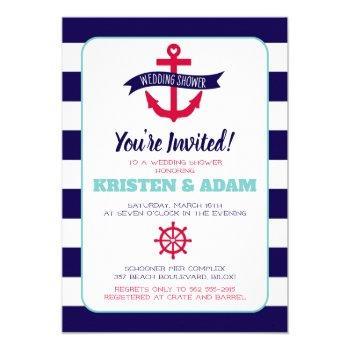 nautical wedding shower invitation  anchors aweigh