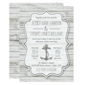 nautical whitewashed wood beach wedding collection invitation