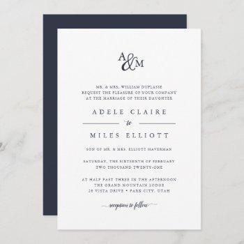 navy | ampersand monogram wedding invitation